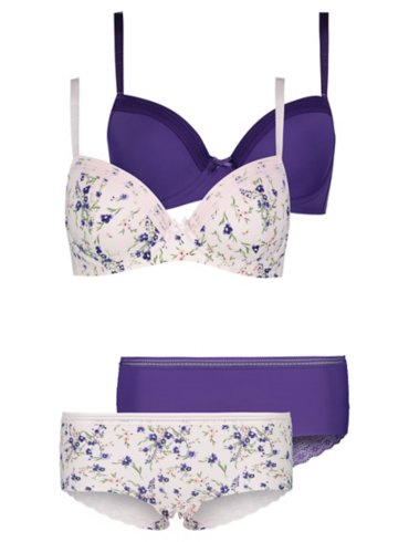 2 Pack Lace Trim T-Shirt Bras and Shorts Set