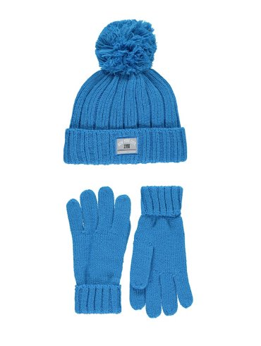 Knitted Gloves & Bobble Hat Set