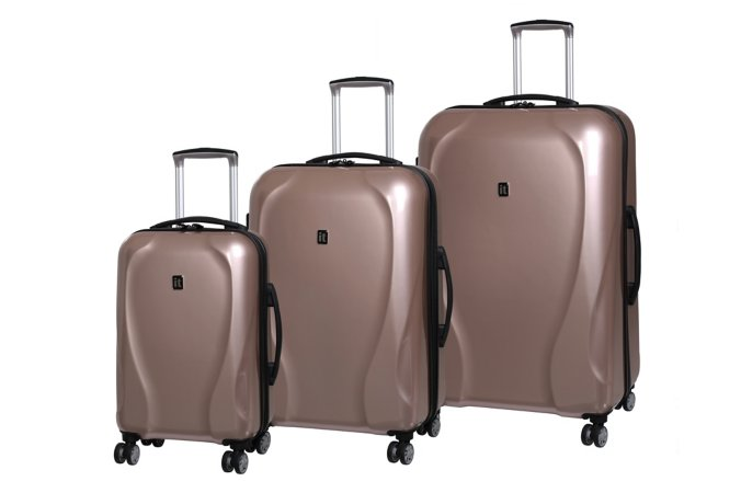 it Luggage Rose Gold Hard Shell 8-wheel Spinner Suitcase Range