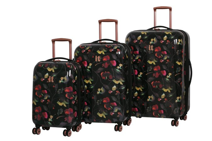 it Luggage Rose Gold Floral 8-Wheel Suitcase Range