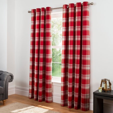 Check Woven Lined Curtains - Red