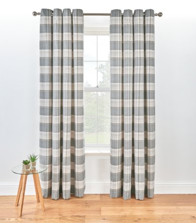 Check Woven Lined Curtains - Charcoal