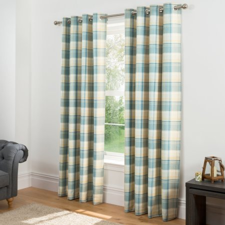 Check Woven Lined Curtains - Teal