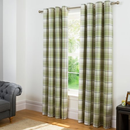 Check Woven Lined Curtains - Green
