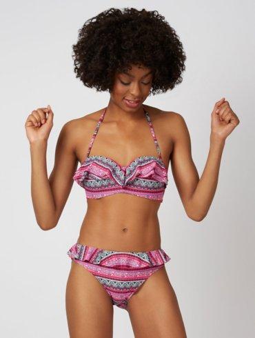 Printed Ruffle Trim Bikini Set