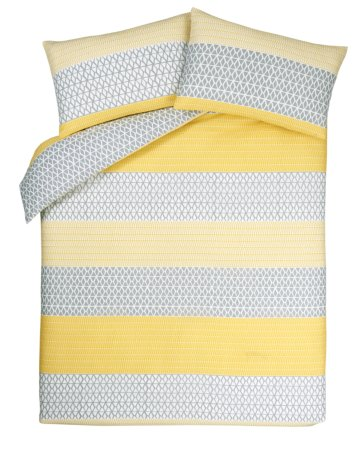 Geometric Yellow & Grey Stripe Duvet Cover