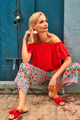 Red Bardot and Culottes Outfit