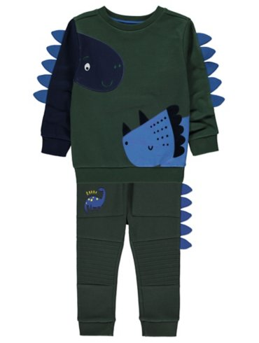 Green Dinosaur Jumper and Joggers Outfit with 3D Spikes