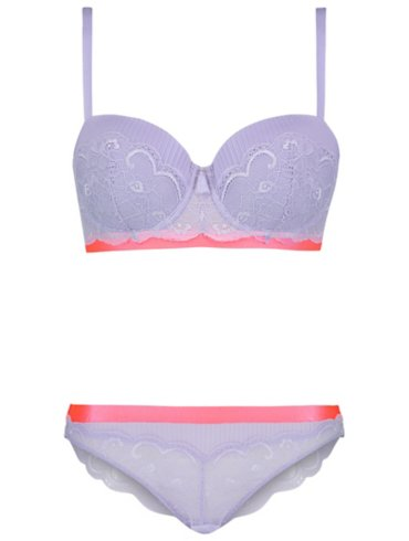 Entice Lilac Neon Trim Balcony Bra and Brazilian Set