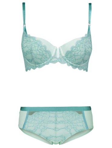 Entice Mint Lace Balcony Bra and Shorts Set