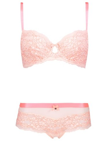 Entice Blush Lace Non-Padded Bra and Shorts Set