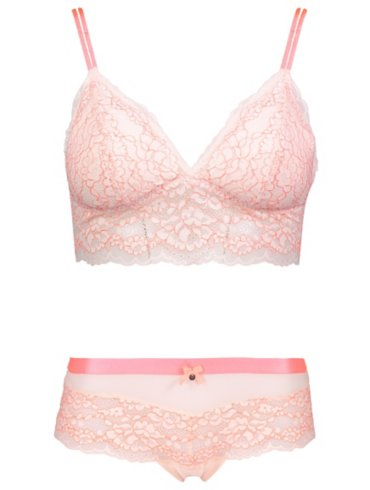 Entice Blush Lace Bralette and Shorts Set