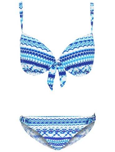 Blue Metallic Print Plunge Bikini Set
