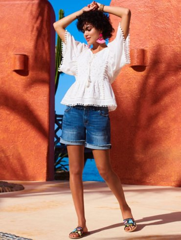 White Blouse & Denim Shorts Outfit