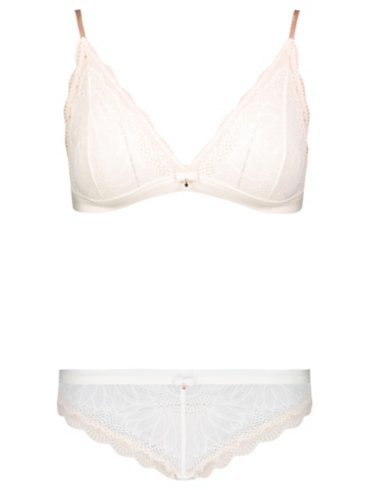 Entice Nude Lace Triangle Bra & Brazilian Set