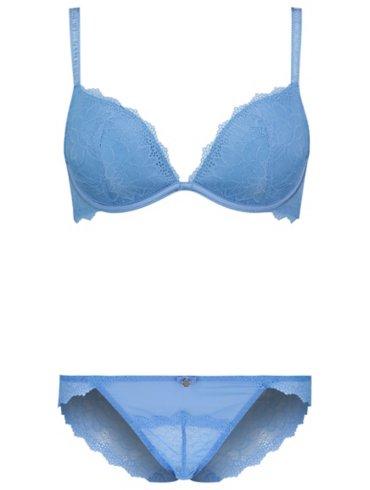 Entice Light Blue Lace Plunge Bra & High Leg Set