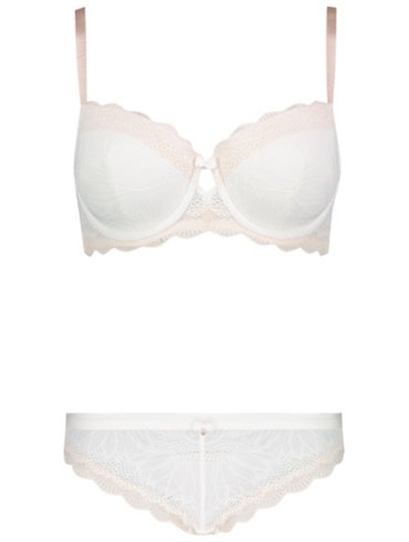 Entice Ivory Lace Fuller Cup Bra & Brazilian Briefs