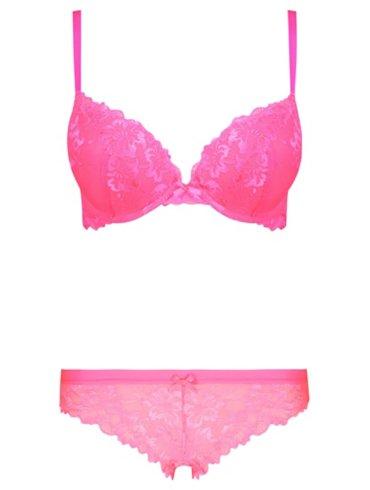 Pink Lace 2 Sizes Bigger Bra & Shorts