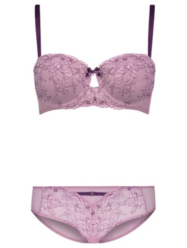 Lilac Lace Balcony Bra and Short Briefs