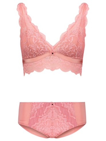 Entice Pink Lace Bralette and Short Briefs Set
