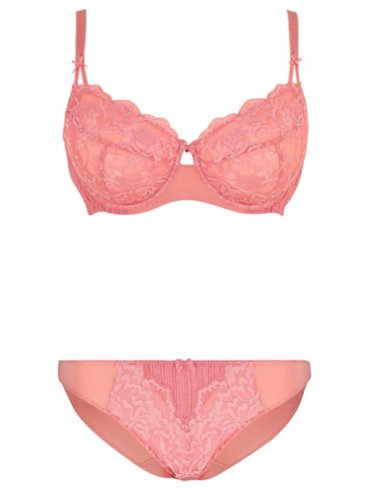 Entice Pink Non-Padded Lace Bra and High Leg Briefs