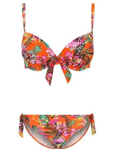 Orange Floral Printed Bikini Top