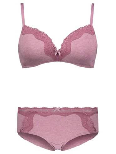 Purple Non-Wired Comfort Lace Bra and Short Briefs Set