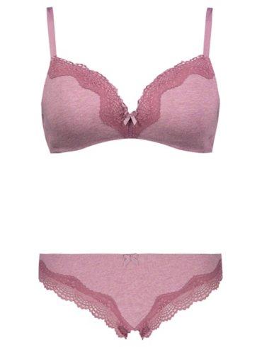 Purple Non-Wired Comfort Lace Bra and Brazilian Briefs Set