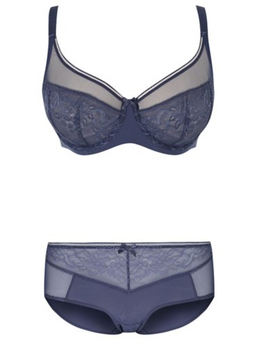 Navy Non-Padded Lace Bra and Short Briefs Set