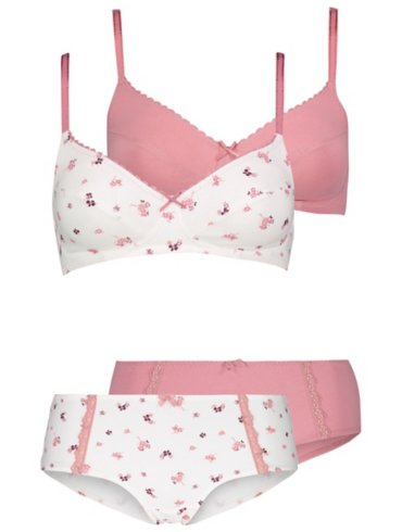 Assorted Non-Wired Bras and Short Briefs 2 Pack