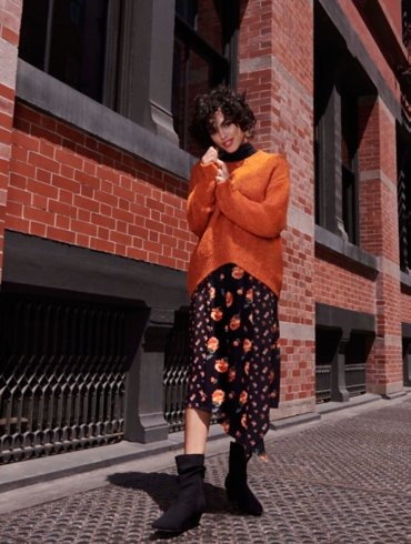 Knitted Jumper and Floral Skirt Outfit