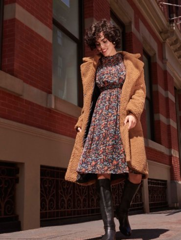 Tan Textured Borg Coat and Ditsy Floral Dress Outfit