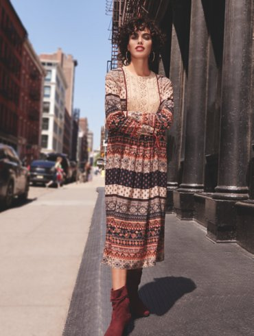 Embellished Maxi Dress and Ruched Boots Outfit