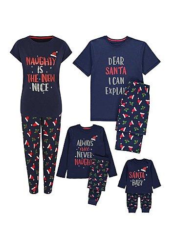 Navy Glittering Mini Me Christmas Pyjamas Set | George