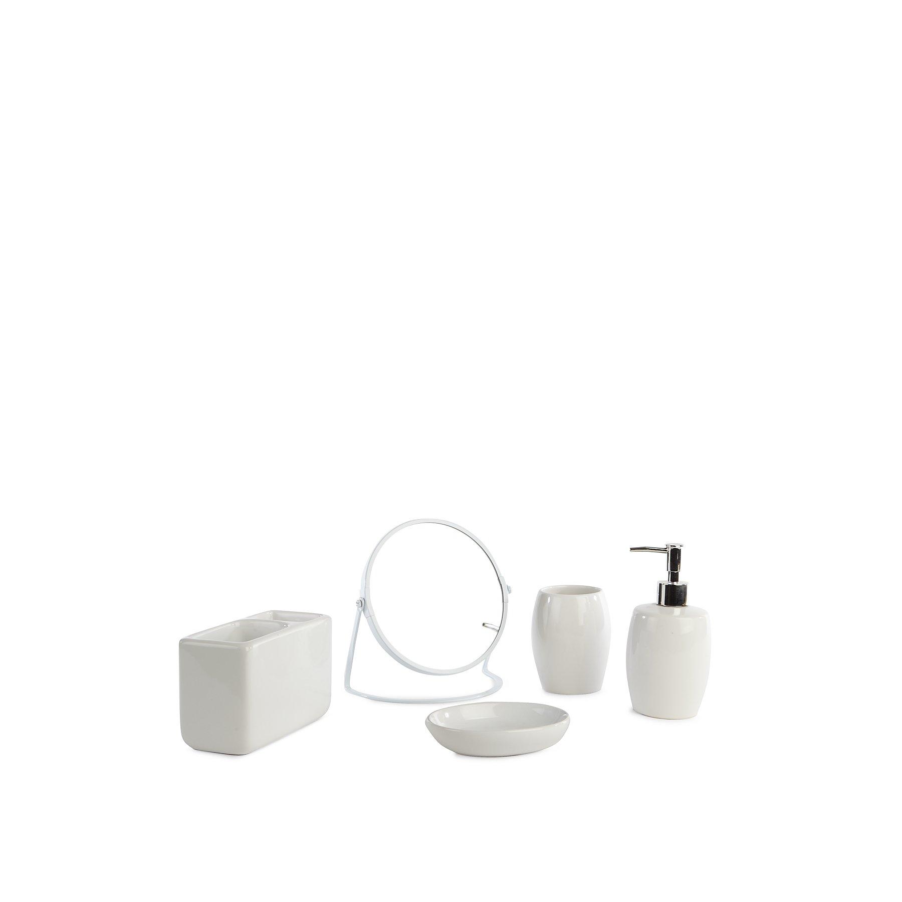 White Ceramic Bathroom Range  Bathroom Accessories  George at ASDA