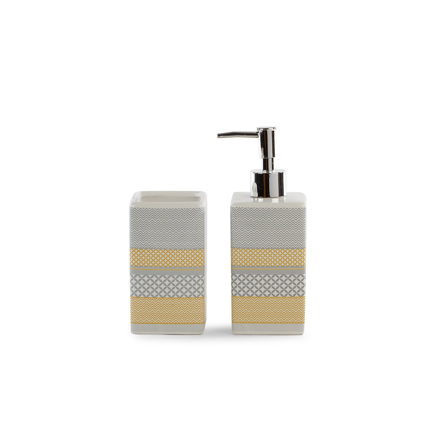 Grey And Yellow Striped Soap Dispenser And Tumbler Range Bathroom Accessories George At Asda