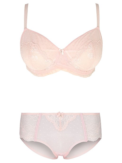 ac3365411b Pink Lace Non-Padded Bra and Short Knickers Set