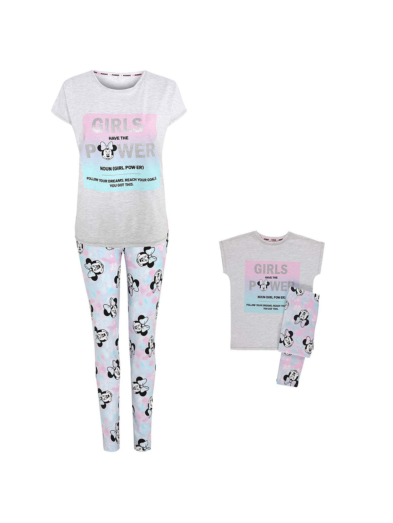 b7ce8c21e Disney Minnie Mouse Mini Me Grey Slogan Pyjama Set