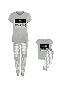 54cd19fb08 Like Mother Like Daughter Slogan Mini Me Pyjama Set