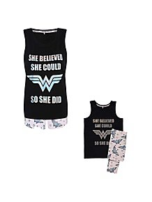 DC Comics Wonder Woman Slogan Mini Me Pyjama Set 01420e098