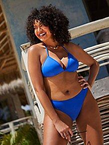 1690b1c689e22 Cobalt Blue Triangle and High Leg Bikini Set