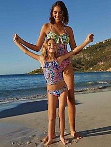 476b696ab66 Green Striped Swimsuits 2 Pack. (0). Tropical Print Mini Me Swimwear