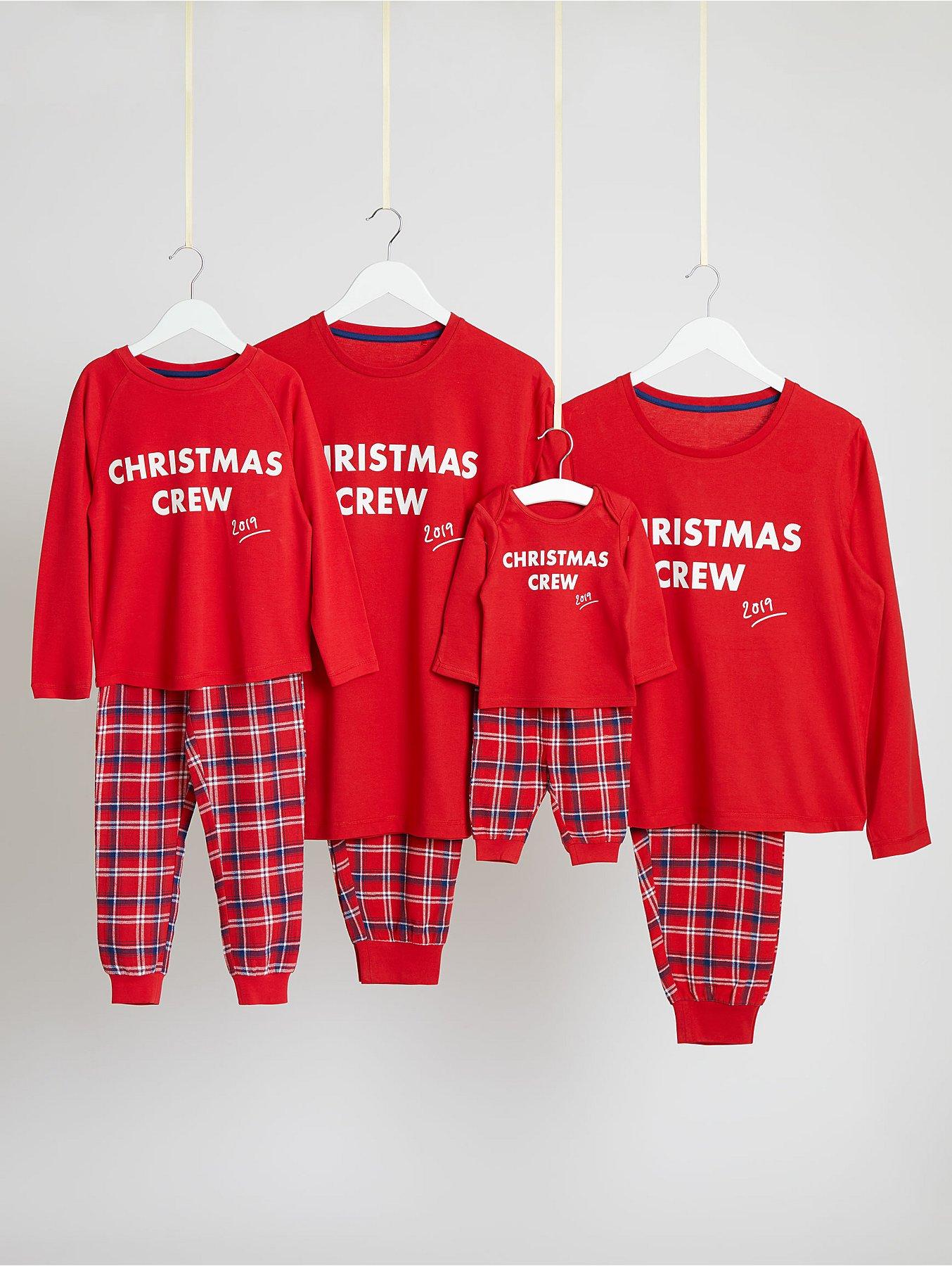 Next Christmas Pyjamas 2019.Family Christmas Crew Slogan Pyjamas Set George