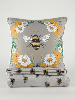 Grey Bumblebee Cushion And Throw Set George At Asda