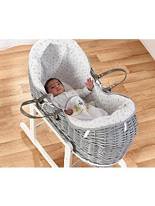 White Wicker Basket with Rocking Stand