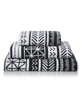 100% Cotton Towel Range - Black Geometric
