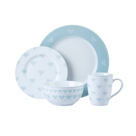 Duck Egg Cross Stitch Heart Tableware Range