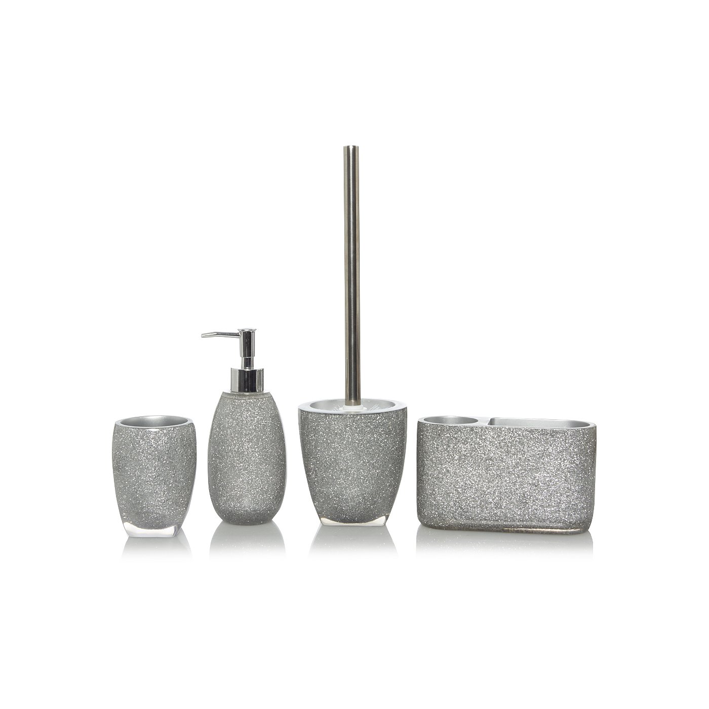 Silver Glitter Bath Accessories Range | Bathroom Accessories ...
