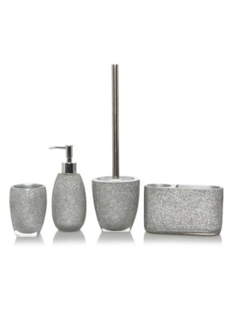 Silver Glitter Bath Accessories Range