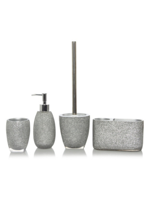 Good Silver Glitter Bath Accessories Range. Loading Zoom